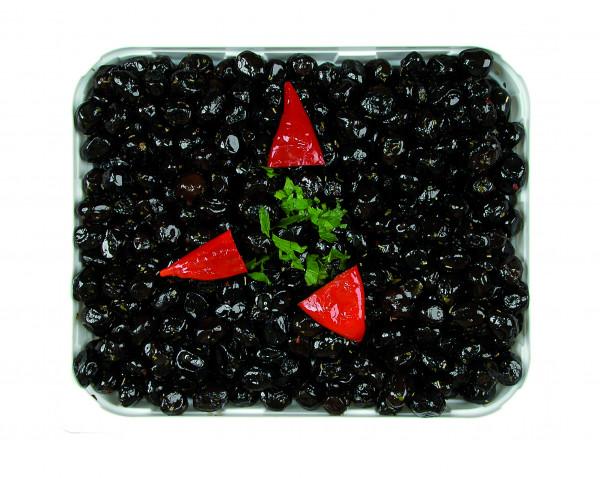Eingelegte getrocknete schwarze Oliven mit Stein 1,3 kg