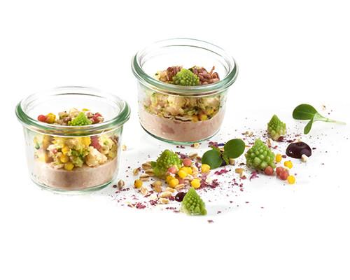 Hafer-Mandel-Creme mit Blumenkohl-Brokkoli-Salat Nachfüller