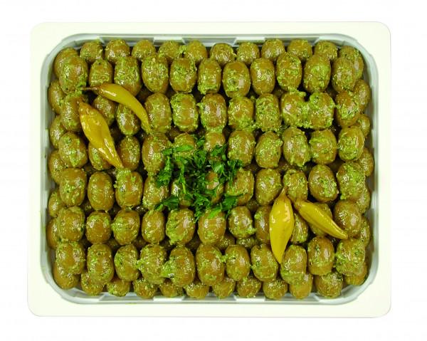 Eingelegte Mammoth Oliven mit Basilikumpesto 1,3 kg
