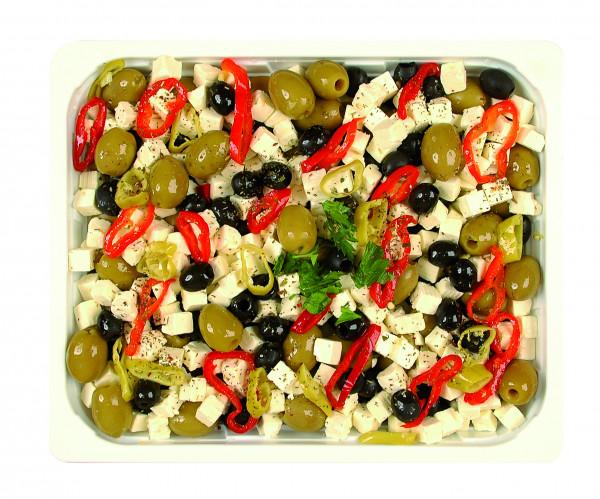 Eingelegter Würfelkäse mit kernlosen Oliven 1,3 kg