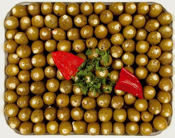 Eingelegte grüne Mammoth Oliven gefüllt mit Frischkäse 1,3 kg