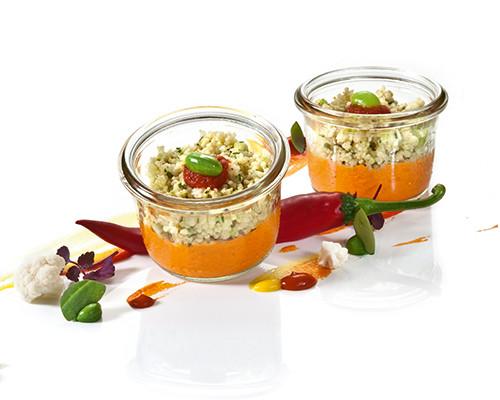 Harissa-Pimento-Creme mit Blumenkohl und Couscous Nachfüller