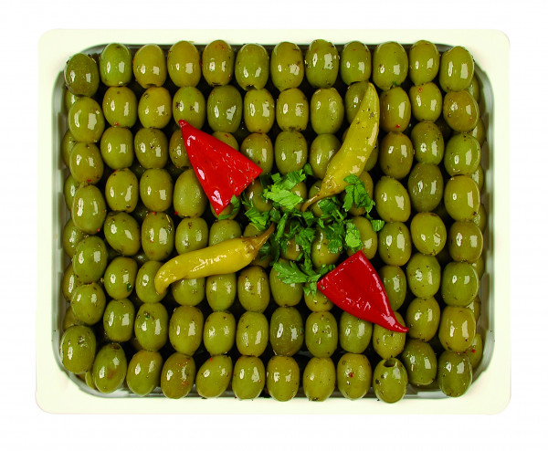 Eingelegte grüne Mammoth Oliven kernlos 1,3 kg