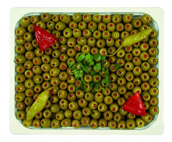 Eingelegte Mammoth Oliven gefüllt mit Paprika 1,3 kg