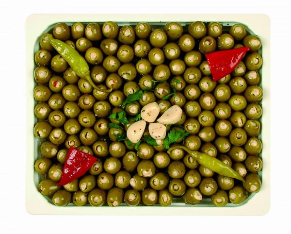 Eingelegte Mammoth Oliven gefüllt mit Knoblauch 1,3 kg