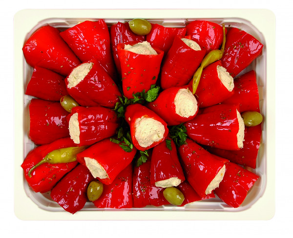Rote Mini-Peperoni gefüllt mit Frischkäse 1,3 kg