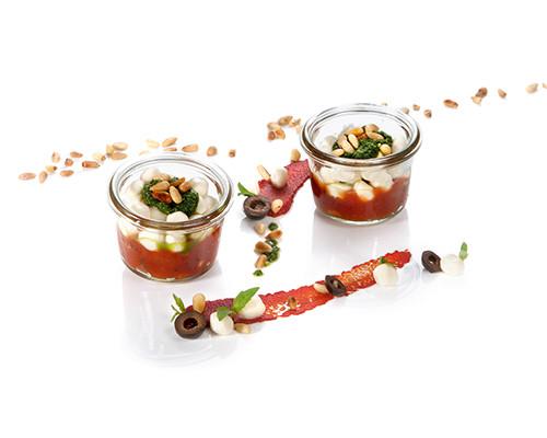 Tomatenkompott und Mozzarella