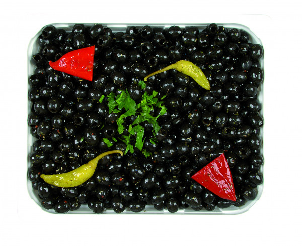 Eingelegte schwarze Oliven kernlos 1,3 kg